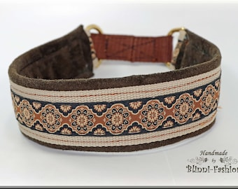 Dog collar MEDIVAL, Martingale, brown