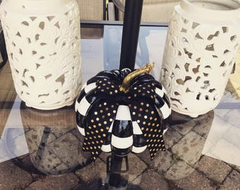 Whimsical Black and White Check Pumpkin with Bow