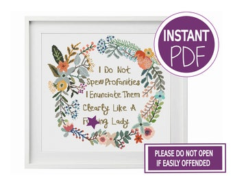 Subversive Cross Stitch Pattern, Cross Stitch Chart , Subversive Sweary Modern Floral Wreath Cross Stitch Chart by Peppermint Purple