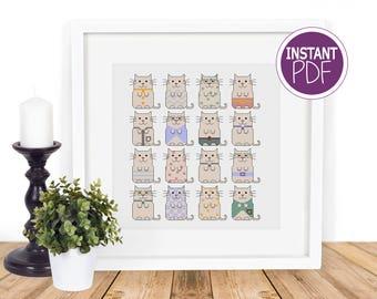 Cat Cross Stitch Pattern, Cat Cross Stitch chart, Modern Cat Cross Stitch, Modern Counted Cross Stitch, Just Cats by Peppermint Purple