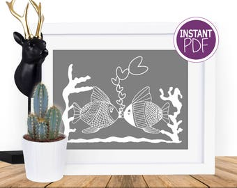 Papercut Template,  Commercial Use - Kissing Fish Papercut Template by Peppermint Purple