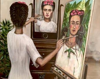 "Frida Kahlo paints a selfie. 16"" x 20"" original acrylic painting"