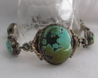 Extraordinary Turquoise and Sterling Silver Nugget Panel Bracelet, Unusual Blue Green Black Matrix on Stones, Unknown Mine, Beautiful!