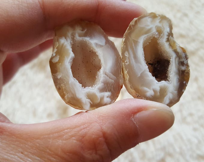 Occo Geode Pair ~ 1 Reiki infused cut and polished geode pair (OGP24)