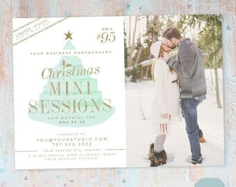 ON SALE Christmas Mini Session Template - Christmas Photography Marketing - Photoshop template - IC030 - Instant Download