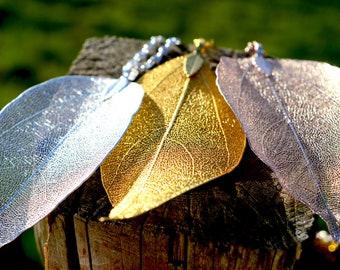 Leaf silver necklace, Silver leaf pendant, Silver plated necklace, Real leaf necklace, silver dipped leaf, natural woodland, Long Chain, UK