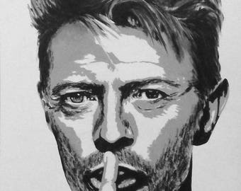 Portrait acrylic painting Portrait in tribute to an artist elsewhere... Mr David Bowie...