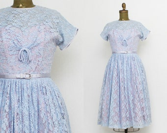 Periwinkle Lace Sweetheart Dress - Size Small Vintage 1950s Blue Lace Fit and Flare Dress