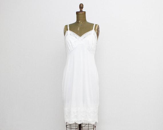 Vintage 1960s White Lace Slip