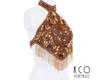 Vintage Gold Sequin Halter Crop Top Beaded Fringe Belly Dancer Festival Summer Retro Clothing Women's Size Small