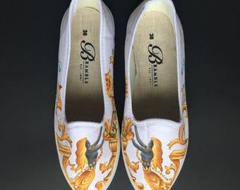 Hand Painted Canvas Shoes size US 7.5-8/ EU 38 White Golden Lady Motif