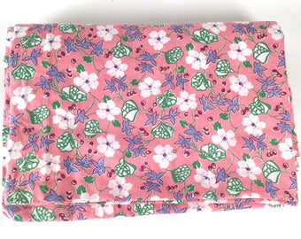 """Vintage 30s Fabric Yardage, Pink Floral Print, Vintage Cotton Fabric, 30s Dress Fabric, L 8 yd. W35"""", Flour Sack, Feed Sack Quilt Cover"""