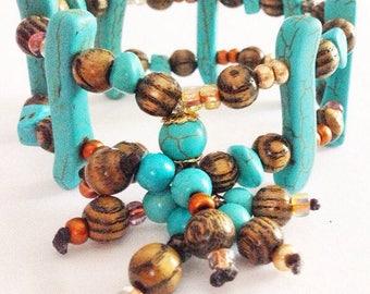 Tribal Turquoise Stretch Cuff Bracelet Bohemian Fashion
