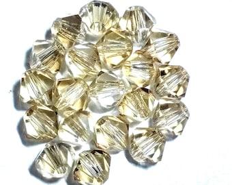 CRYSTAL GOLDEN SHADOW 20 Swarovski Crystal Beads Bicone Xilion 5301 5328 4mm