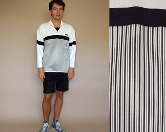 80's vintage men's white striped sweatshirt