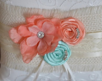 Coral Peach and aqua Ring Bearer Pillow, shown in ivory