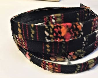 Pre Cuts, Flat Cloth Leather Cord, 10mm, , Black, Red and Orange, cord finding, bracelet, jewelry making supplies, craft, supplier,