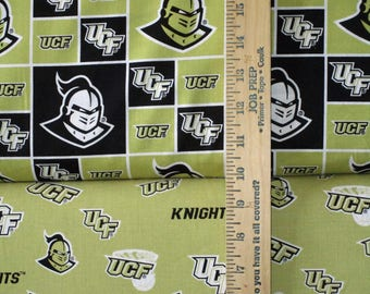 NCAA University of Central Florida Knights Black & Gold College Cotton Fabric! 2 Options! [Choose Your Cut Size]