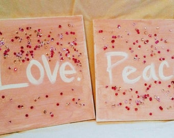 Peace, Love, & Sequins Canvas Painting