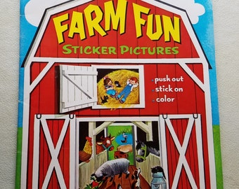 Whitman 1967 Farm Fun Sticker Book Coloring Book, Push Out Stick On Pictures Color Book Complete Unused