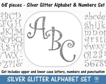 Silver Glitter Digital Alphabet and Numbers Clipart Set - curly font style - Commercial Use - Instant Download