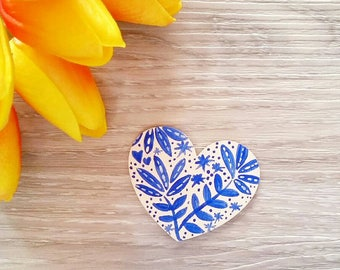 Hand painted OOAK Handmade Heart Boho Brooch Wooden  jewellery Wearable Art one of a kind Original Art Australian Artist