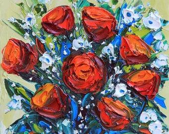 Floral Painting, flower Painting, Floral Art, Still Life Painting, Flower Art, Palette Knife, Floral Decor, 10x10, Art, Flower Artwork,Roses