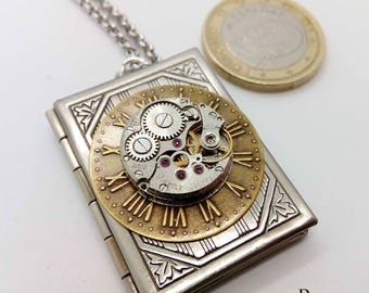 Steampunk necklace - Steampunk book locket necklace with vintage watch movement- Steampunk - locket - steampunk locket - steampunk jewellery