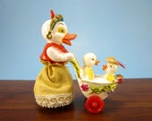 Vintage 1950s Hard Plastic String Pull Toy, Mama Duck w/ Carriage Stroller, Hong Kong British Empire, Easter