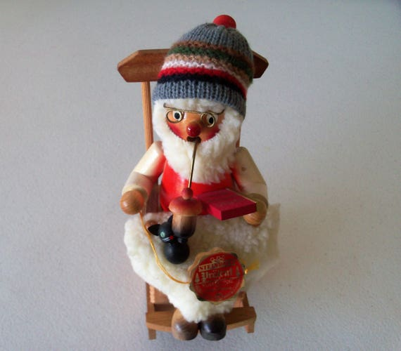 Steinbach Volkskunst West Germany Smoking Rocking Musical Santa