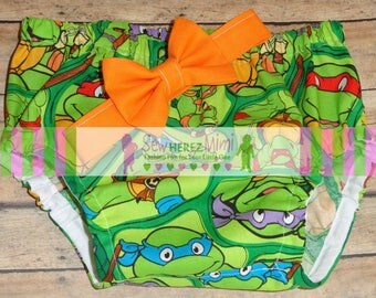 CAKE SMASH Teenage Mutant Ninja Turtles Inspired Infant Photo Prop 1st Birthday Diaper Cover Bow Tie