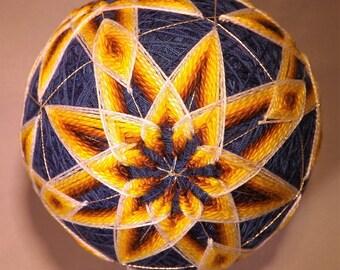 Brand new handmade Blue with 6 Gold interlocking stars Japanese Temari Ball