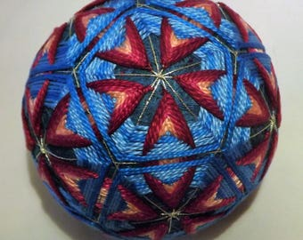 Japanese Temari Ball Hand made Blue and Cardinal Red