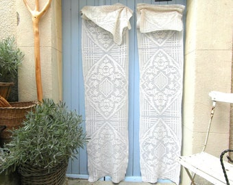 2 very long crochet curtains, French door curtains, long window panels, French vintage, French linens, handmade cafe curtains.