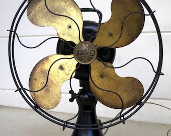 """Vintage Emerson 12"""" Brass Blade Fan, Superb Original Condition"""