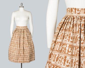 Vintage 50s Egyptian Novelty Print Skirt with Pockets | 1950s Brown Cream Striped Linen Full Skirt (small)