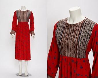 red floral hand embroidered dress vintage 1970s • Revival Vintage Boutique