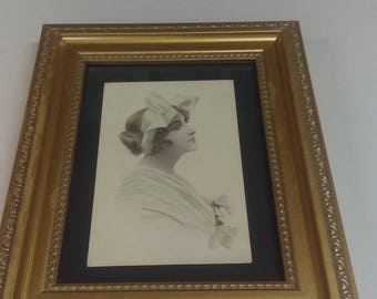 Framed Postcard,woman in bonnett