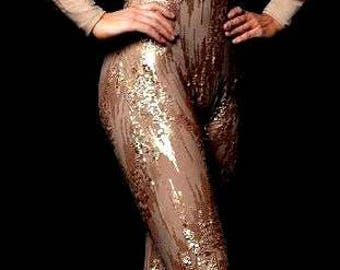 Unitard bodysuit Gold Sequins