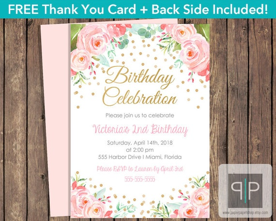 Instant download roses birthday invitation editable pink watercolor il570xn stopboris Images