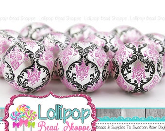 20mm Hot Pink & Black Damask Print Pearl Beads, Chunky Beads, Bubblegum Beads, Round Imitation Acrylic Faux Pearls, Bubble Gum, Pkg 6 or 10