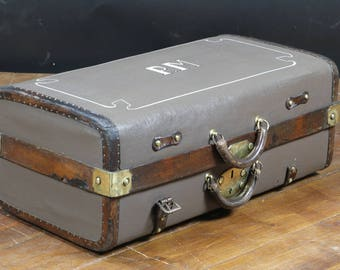 R2466 canvas and leather suitcase