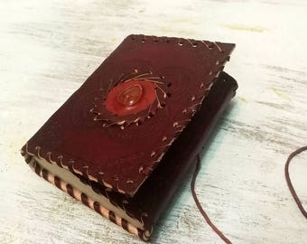 Fast shipping/Steampunk hand made leather notebook/Scrapbook Leather journal/ivory paper/Natural Stone/wrapped notebook with brown rope