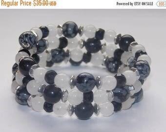 20%OFF Snowflake Obsidian White Jade Black Onyx Memory Wrap Bracelet