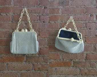 December Sale 1930s Whiting & Davis cream alumesh purse