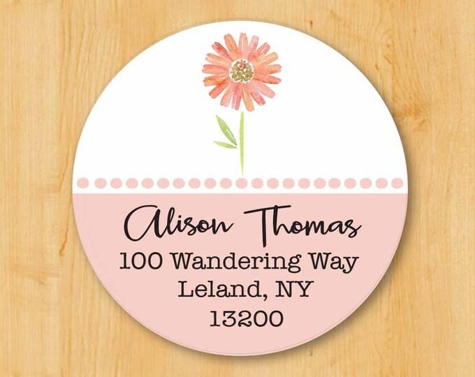 Return Address Sticker | Custom Stickers | Personalized stickers | Round Address Label | Pink Flower Label | Flower Sticker | Round Sticker