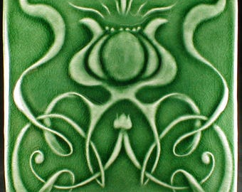 Art nouveau tile, Wall tile, green ceramic art tile, ceramic tile, wall tile, accent tile, backsplash tile, kitchen tile, wall hanging