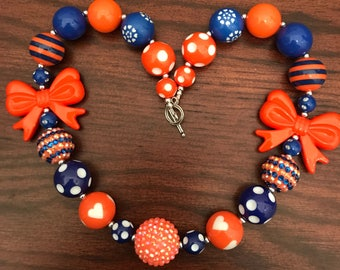 Blue and Orange Chunky Bubble Gum Necklace with Bows or without Florida Gators/Gorman Gaels (Adult/Teen)