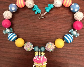 "Shopkins ""Wishes"" Birthday Cake Chunky Bubble Gum Necklace (Child/Toddler)"