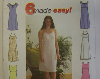 New 2000 Simplicity 9191 6-EASY Empire DRESSES for SUMMER Pattern sz 12-14-16-18 UNcut
